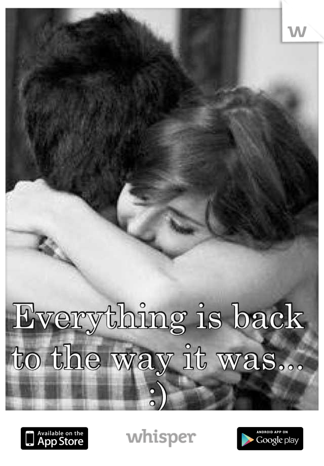 Everything is back to the way it was... :)