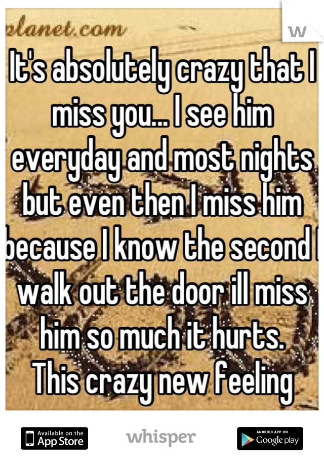 It's absolutely crazy that I miss you... I see him everyday and most nights but even then I miss him because I know the second I walk out the door ill miss him so much it hurts.  This crazy new feeling