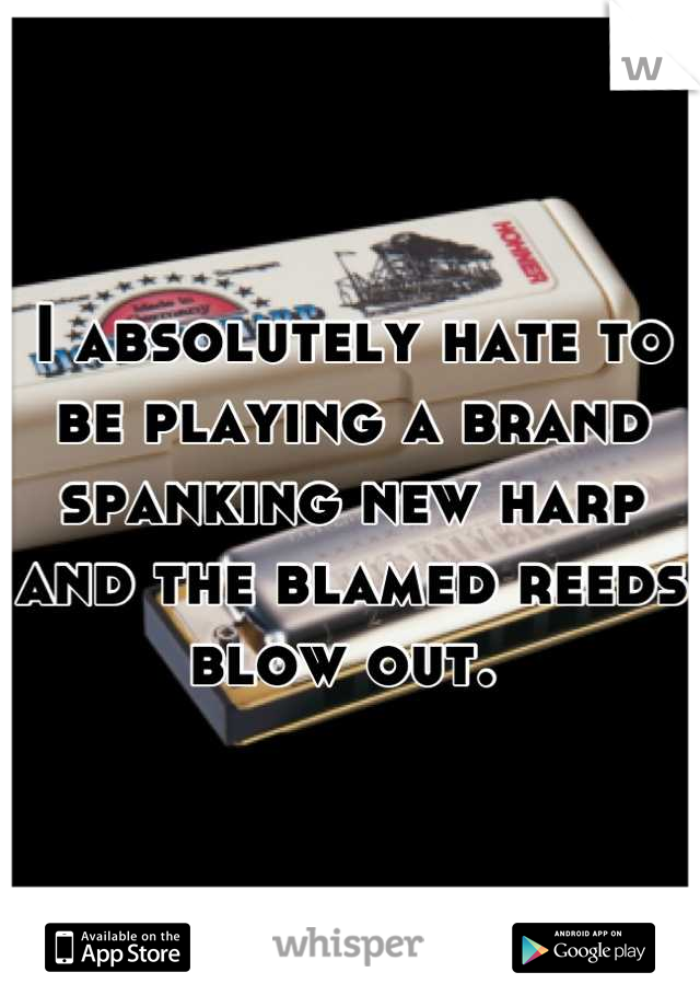 I absolutely hate to be playing a brand spanking new harp and the blamed reeds blow out.