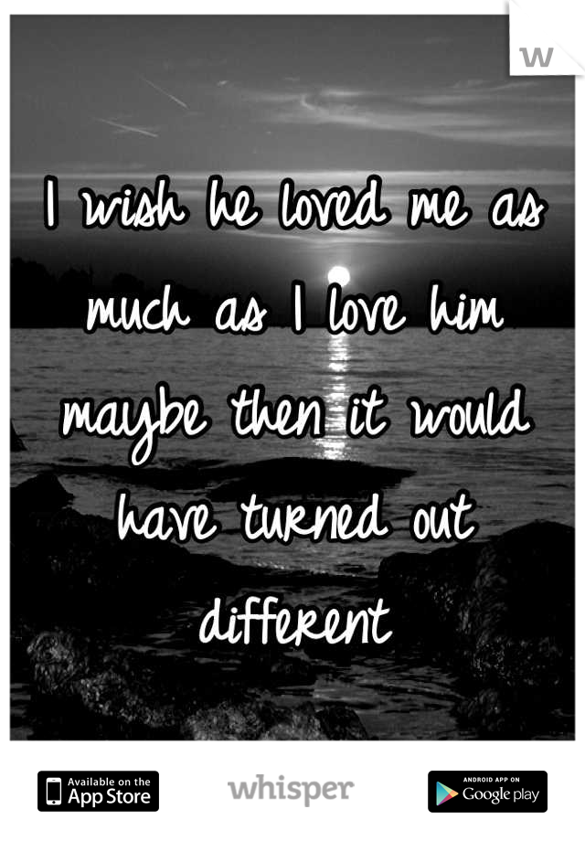 I wish he loved me as much as I love him maybe then it would have turned out different