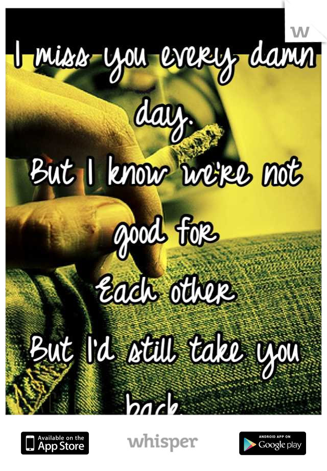 I miss you every damn day.  But I know we're not good for Each other But I'd still take you back.