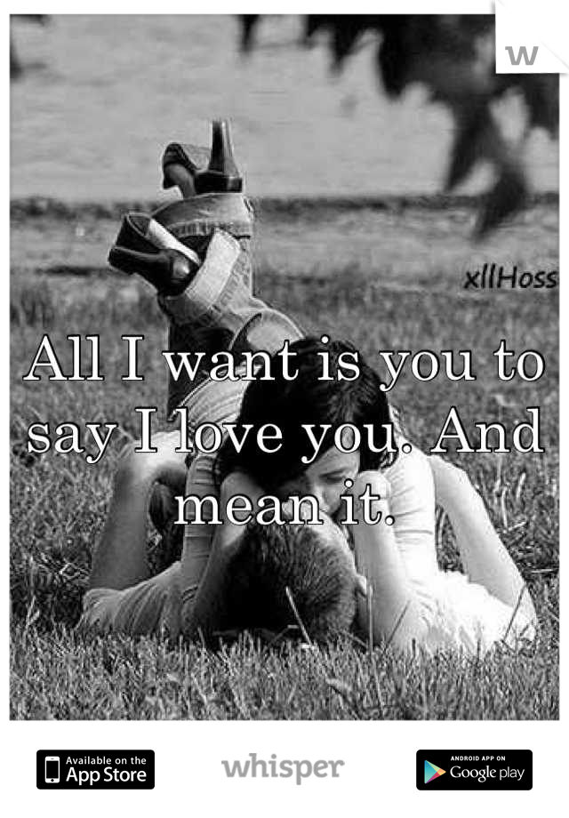 All I want is you to say I love you. And mean it.