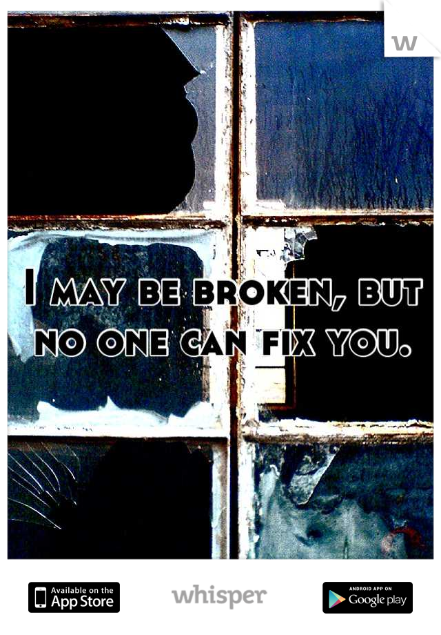 I may be broken, but no one can fix you.
