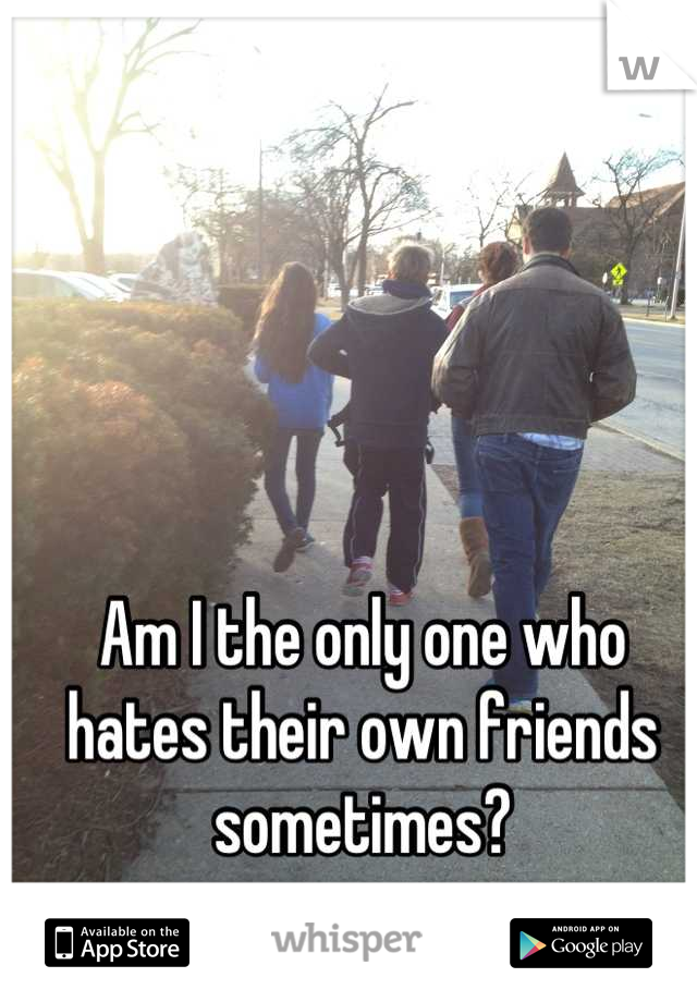 Am I the only one who hates their own friends sometimes?