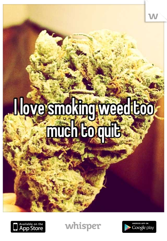 I love smoking weed too much to quit