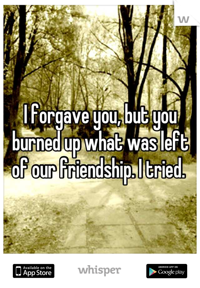 I forgave you, but you burned up what was left of our friendship. I tried.