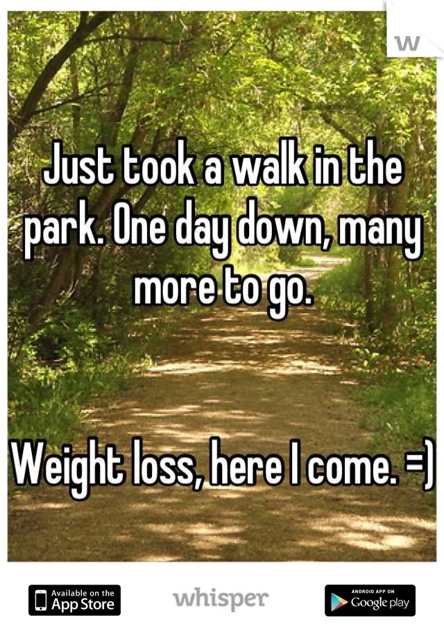 Just took a walk in the park. One day down, many more to go.    Weight loss, here I come. =)