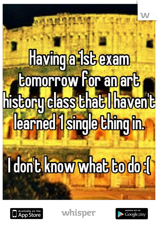 Having a 1st exam tomorrow for an art history class that I haven't learned 1 single thing in.   I don't know what to do :(