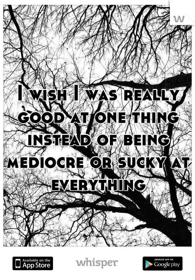 I wish I was really good at one thing instead of being mediocre or sucky at everything