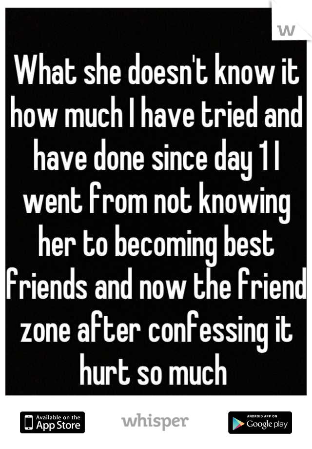 What she doesn't know it how much I have tried and have done since day 1 I went from not knowing her to becoming best friends and now the friend zone after confessing it hurt so much