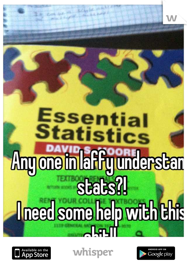 Any one in laffy understand stats?!  I need some help with this shit!!