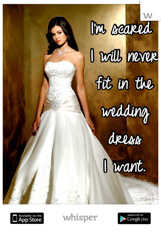 I'm scared  I will never  fit in the  wedding  dress  I want.