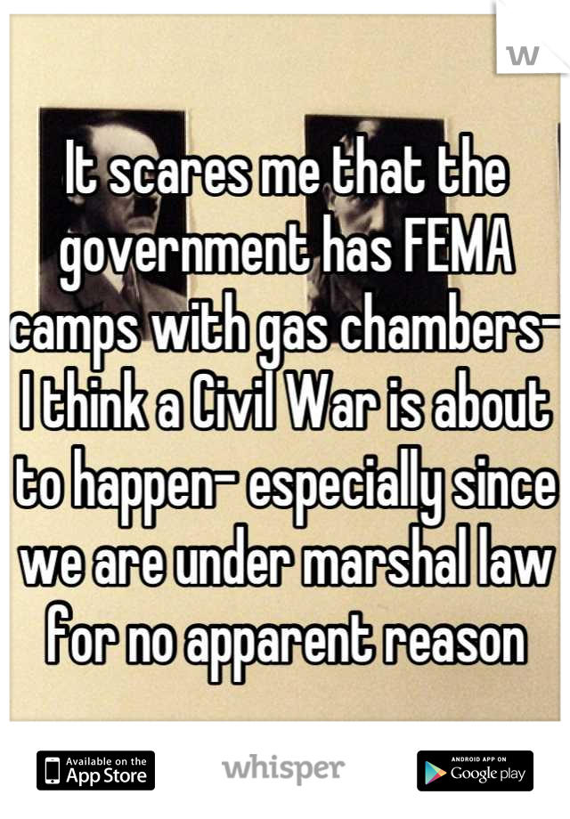 It scares me that the government has FEMA camps with gas chambers- I think a Civil War is about to happen- especially since we are under marshal law for no apparent reason