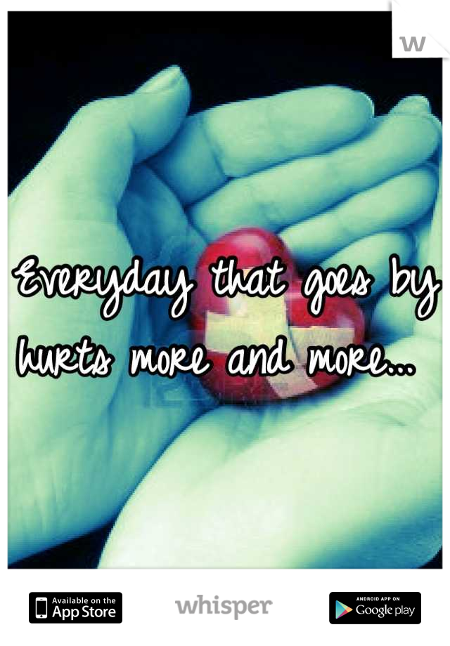 Everyday that goes by hurts more and more...
