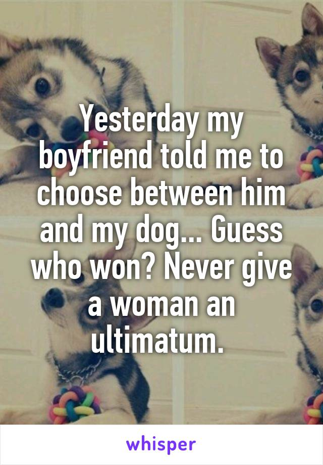 Yesterday my boyfriend told me to choose between him and my dog... Guess who won? Never give a woman an ultimatum.