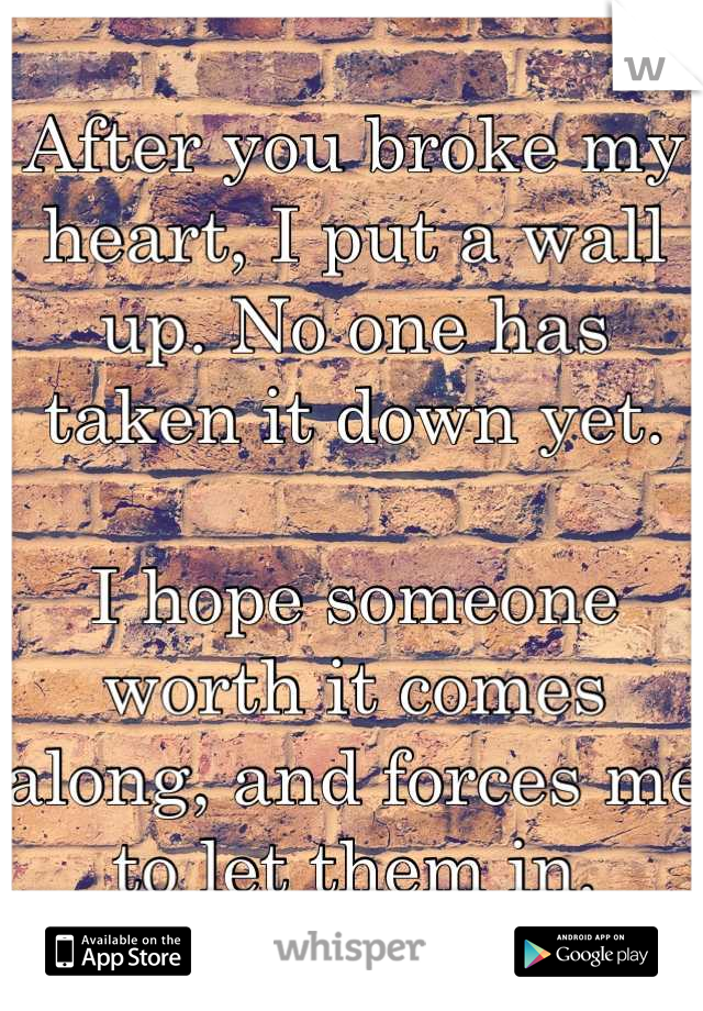 After you broke my heart, I put a wall up. No one has taken it down yet.  I hope someone worth it comes along, and forces me to let them in.