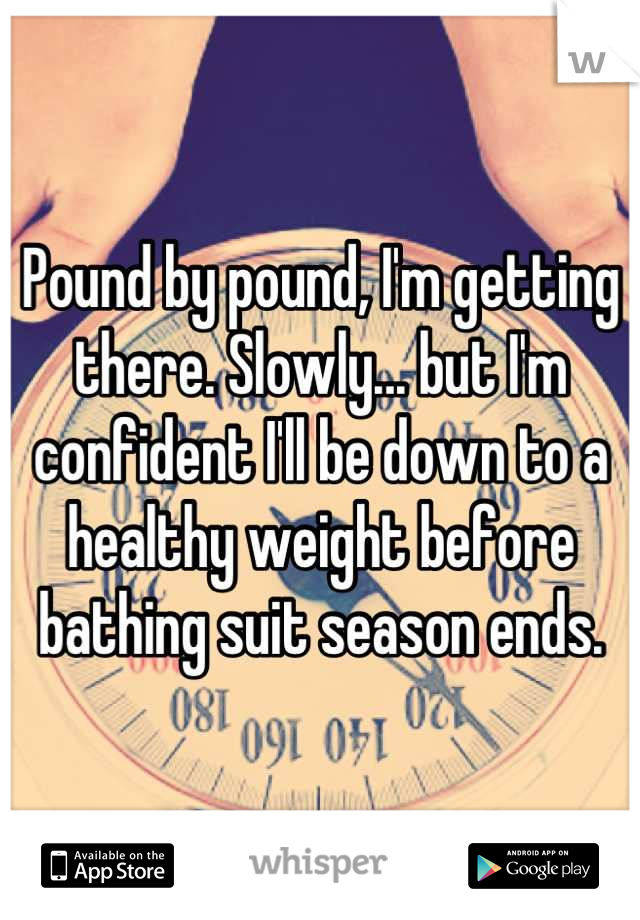 Pound by pound, I'm getting there. Slowly... but I'm confident I'll be down to a healthy weight before bathing suit season ends.