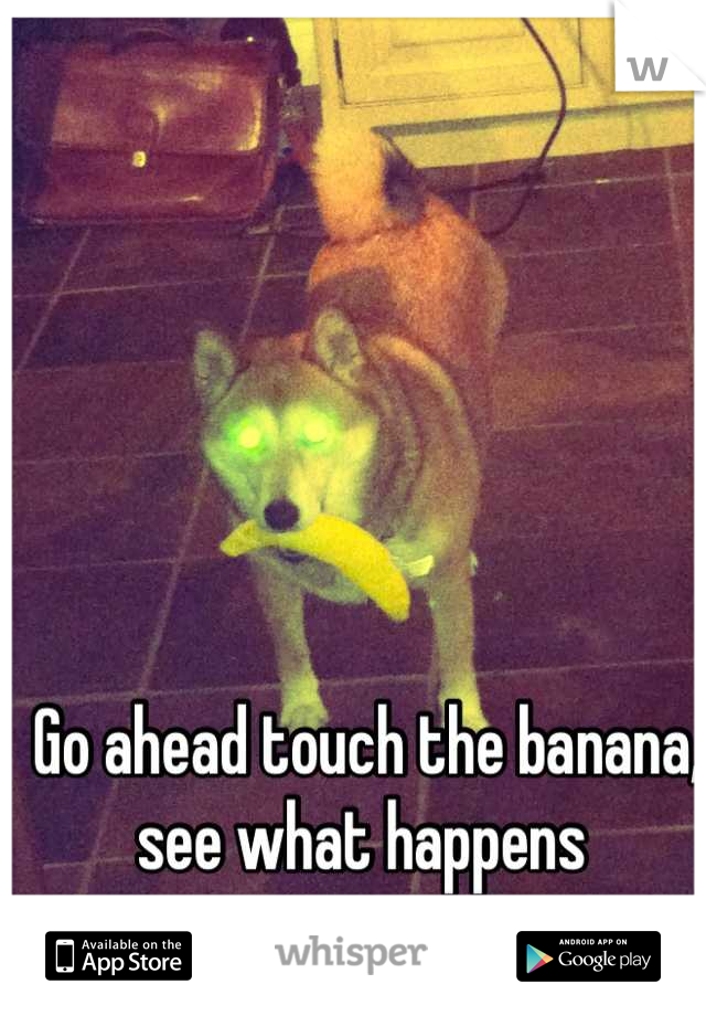 Go ahead touch the banana, see what happens