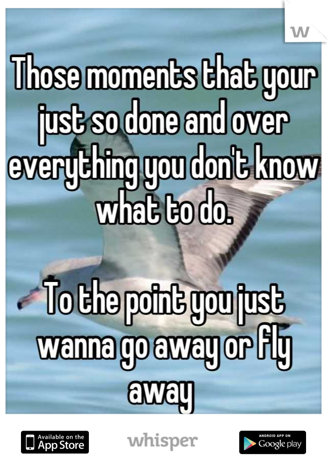 Those moments that your just so done and over everything you don't know what to do.  To the point you just wanna go away or fly away