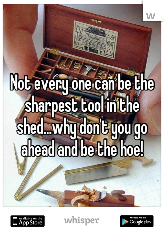 Not every one can be the sharpest tool in the shed...why don't you go ahead and be the hoe!