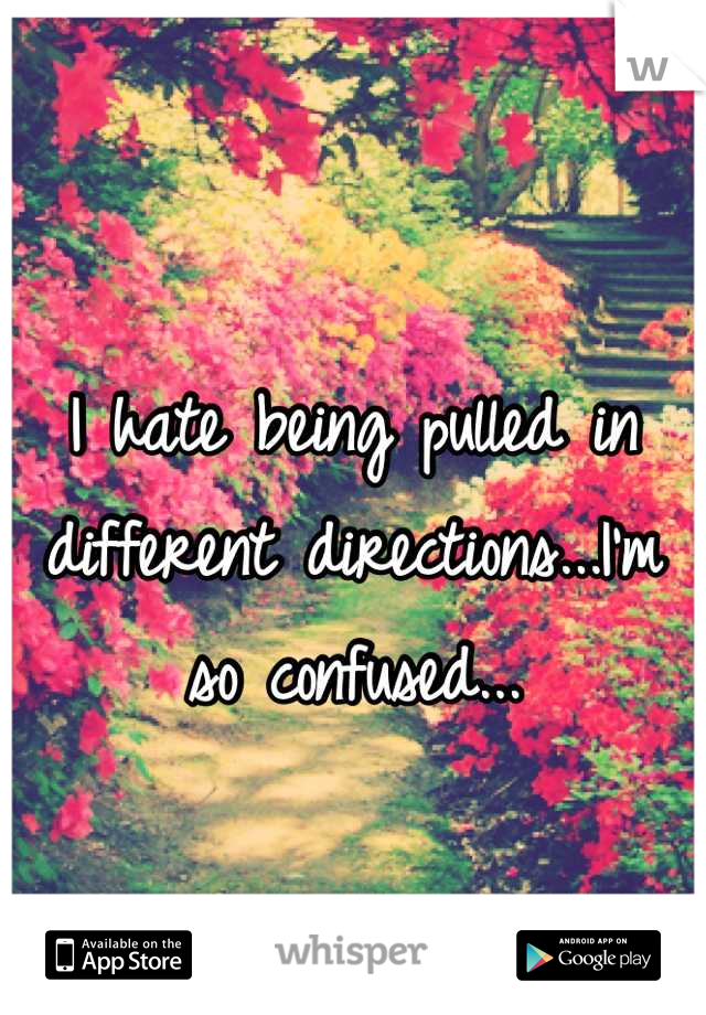 I hate being pulled in different directions...I'm so confused...