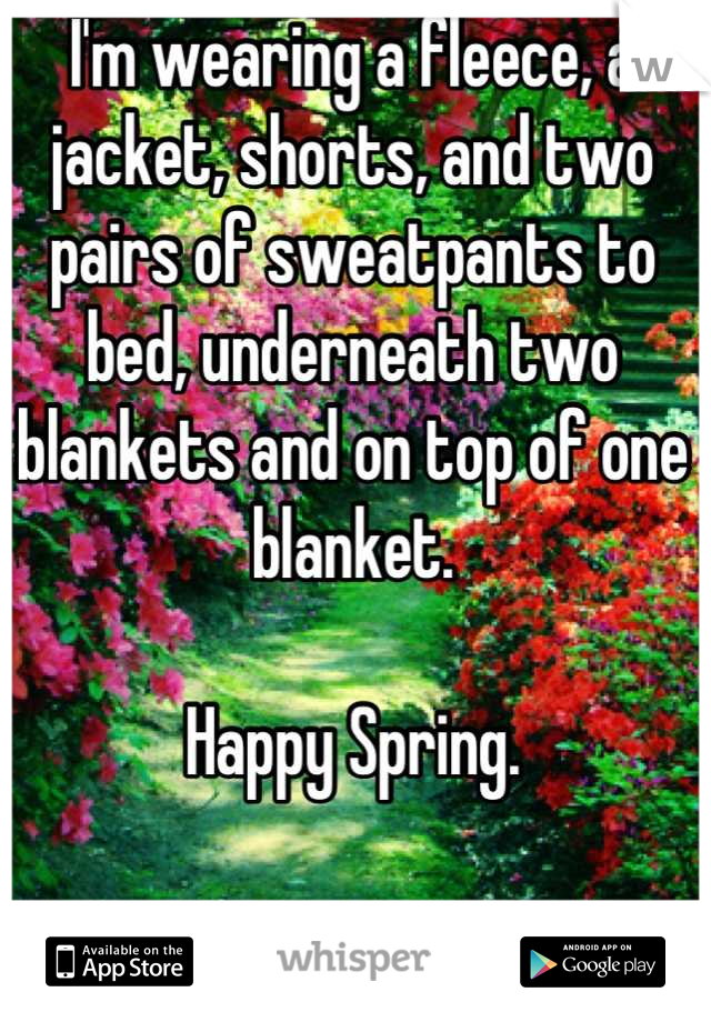 I'm wearing a fleece, a jacket, shorts, and two pairs of sweatpants to bed, underneath two blankets and on top of one blanket.  Happy Spring.   -__-