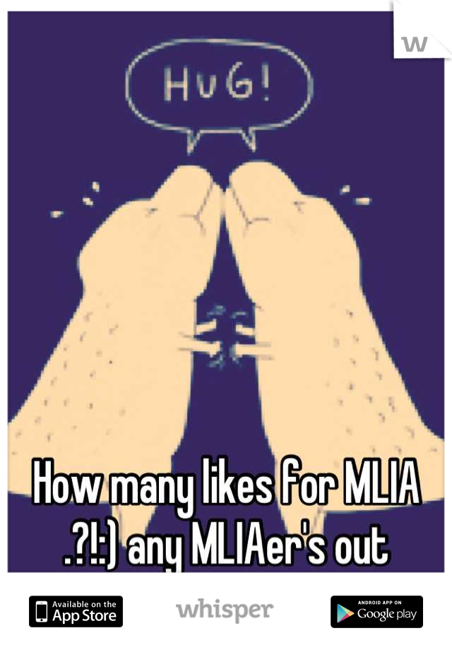 How many likes for MLIA .?!:) any MLIAer's out there.?