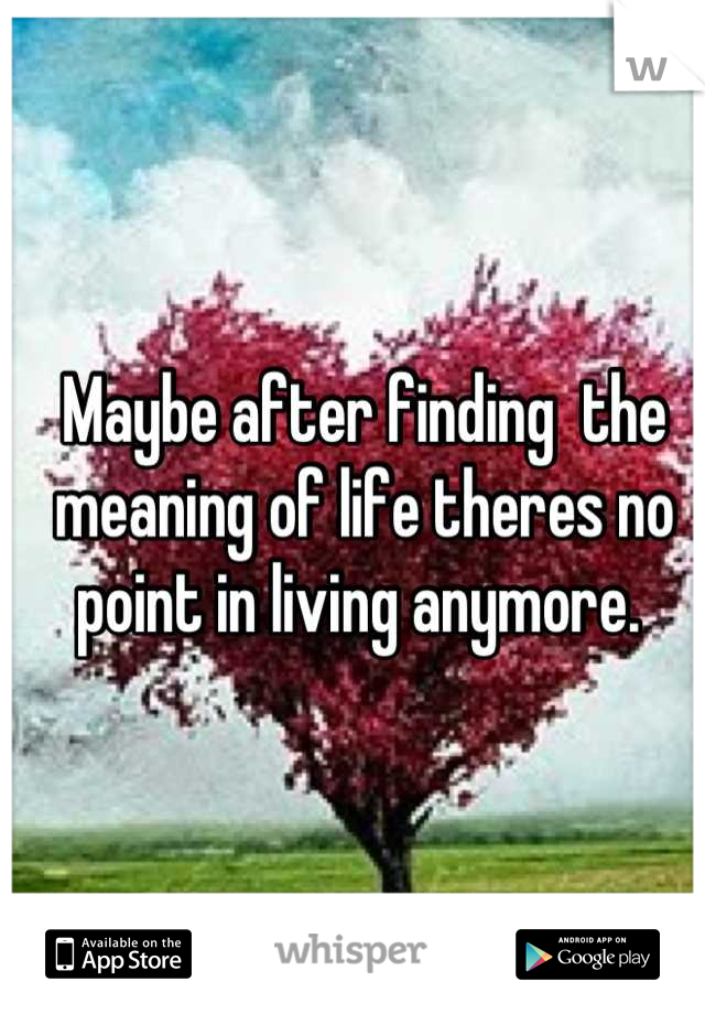 Maybe after finding  the meaning of life theres no point in living anymore.