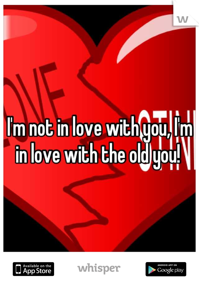 I'm not in love with you, I'm in love with the old you!
