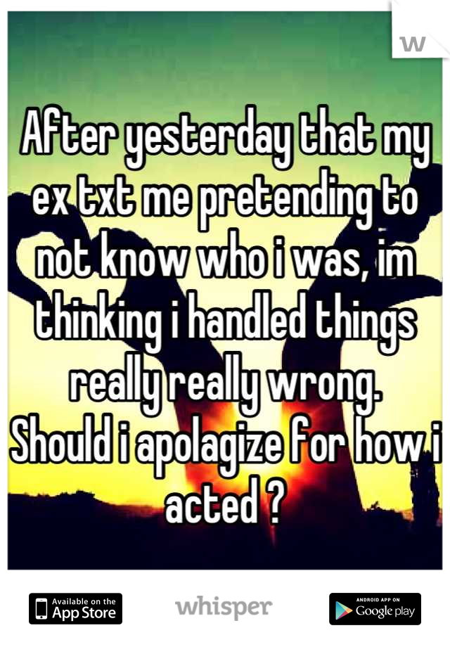 After yesterday that my ex txt me pretending to not know who i was, im thinking i handled things really really wrong. Should i apolagize for how i acted ?