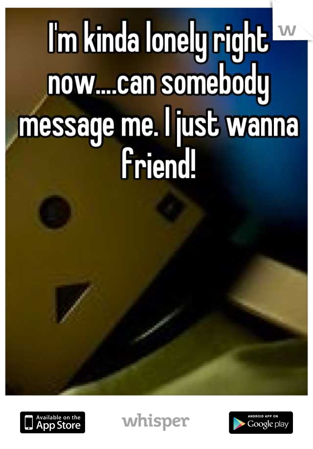 I'm kinda lonely right now....can somebody message me. I just wanna friend!