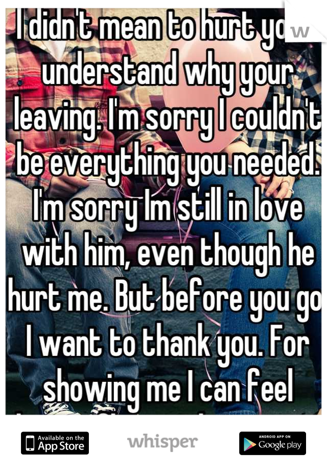 I didn't mean to hurt you. I understand why your leaving. I'm sorry I couldn't be everything you needed. I'm sorry Im still in love with him, even though he hurt me. But before you go. I want to thank you. For showing me I can feel butterflies with someone else.