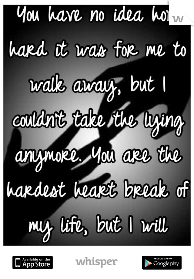 You have no idea how hard it was for me to walk away, but I couldn't take the lying anymore. You are the hardest heart break of my life, but I will survive.