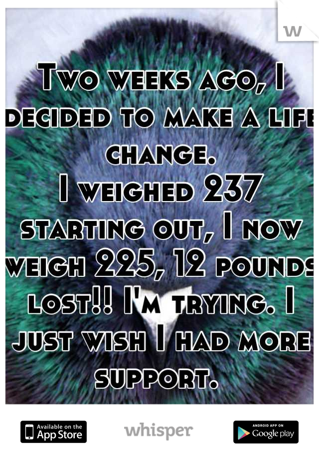 Two weeks ago, I decided to make a life change.  I weighed 237 starting out, I now weigh 225, 12 pounds lost!! I'm trying. I just wish I had more support.