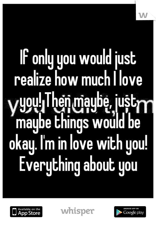 If only you would just realize how much I love you! Then maybe, just maybe things would be okay. I'm in love with you! Everything about you