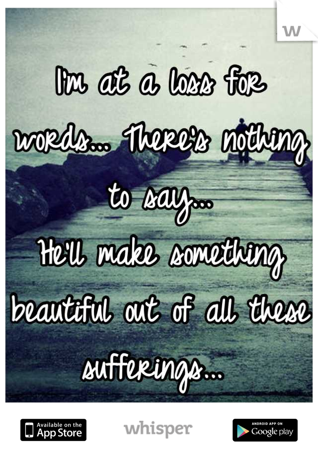 I'm at a loss for words... There's nothing to say...  He'll make something beautiful out of all these sufferings...