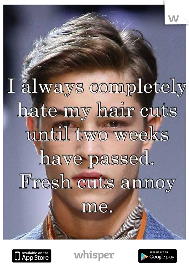 I always completely hate my hair cuts until two weeks have passed. Fresh cuts annoy me.