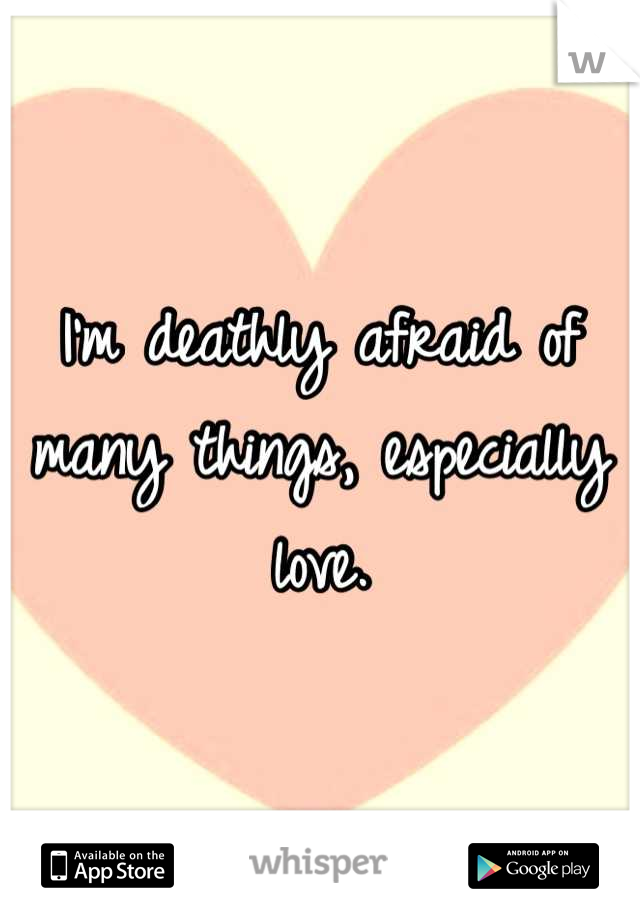 I'm deathly afraid of many things, especially love.