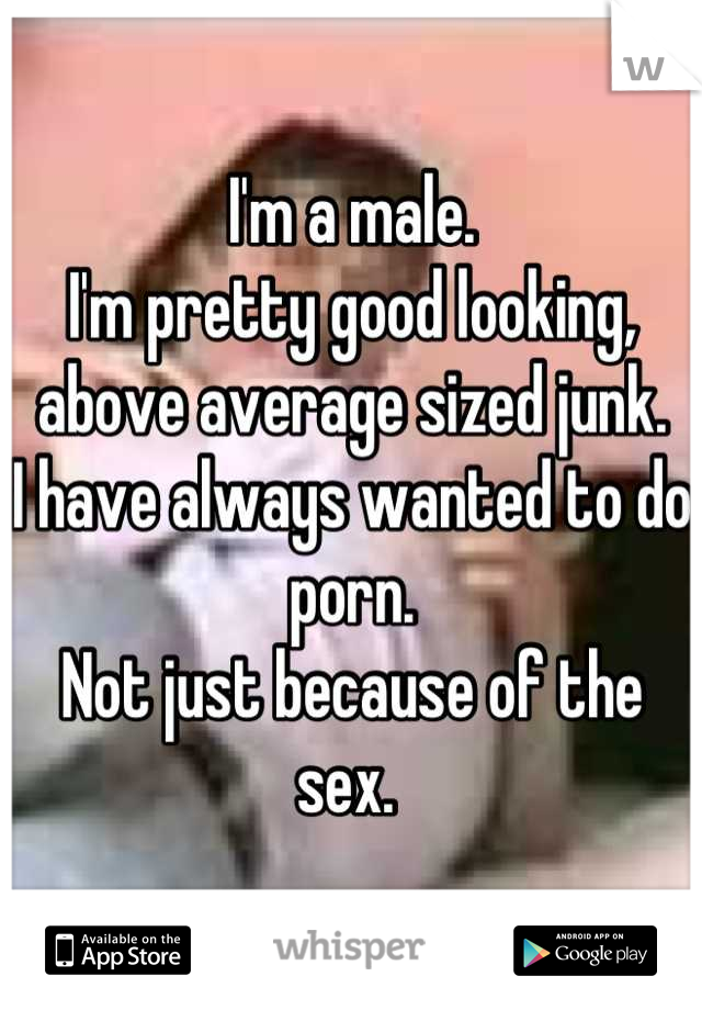 I'm a male.  I'm pretty good looking, above average sized junk.  I have always wanted to do porn.  Not just because of the sex.