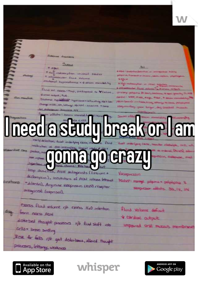 I need a study break or I am gonna go crazy