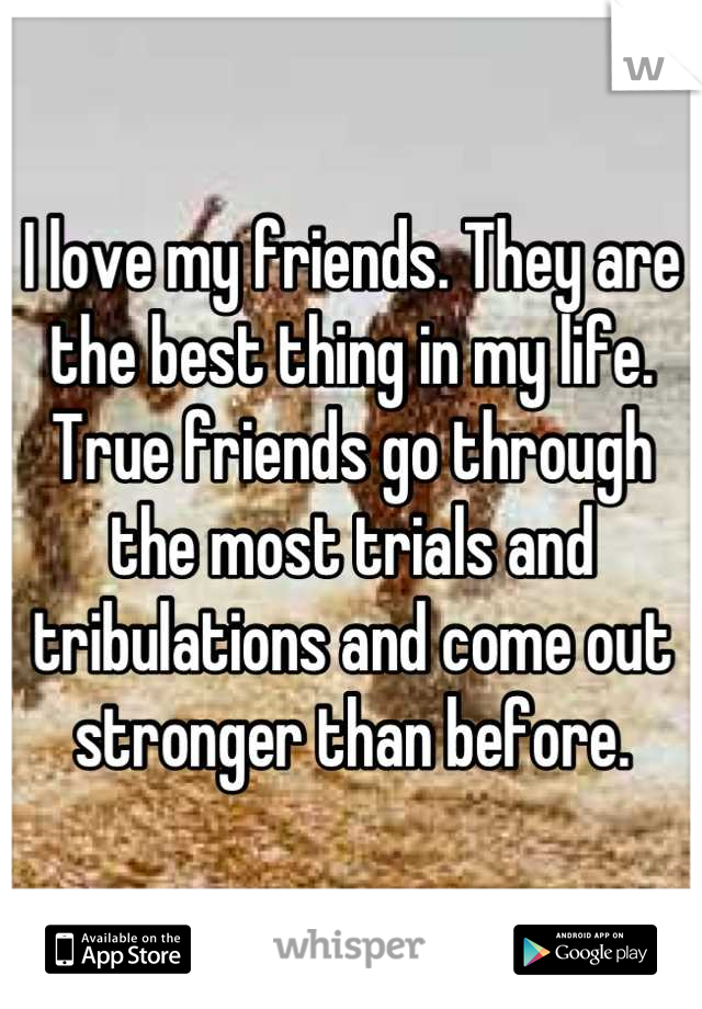I love my friends. They are the best thing in my life. True friends go through the most trials and tribulations and come out stronger than before.
