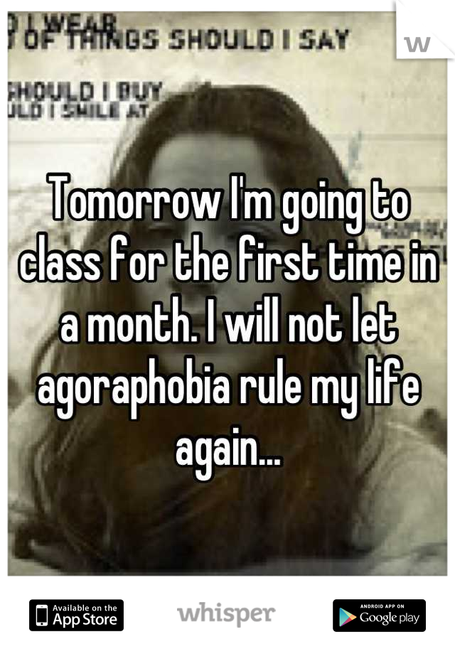 Tomorrow I'm going to class for the first time in a month. I will not let agoraphobia rule my life again...