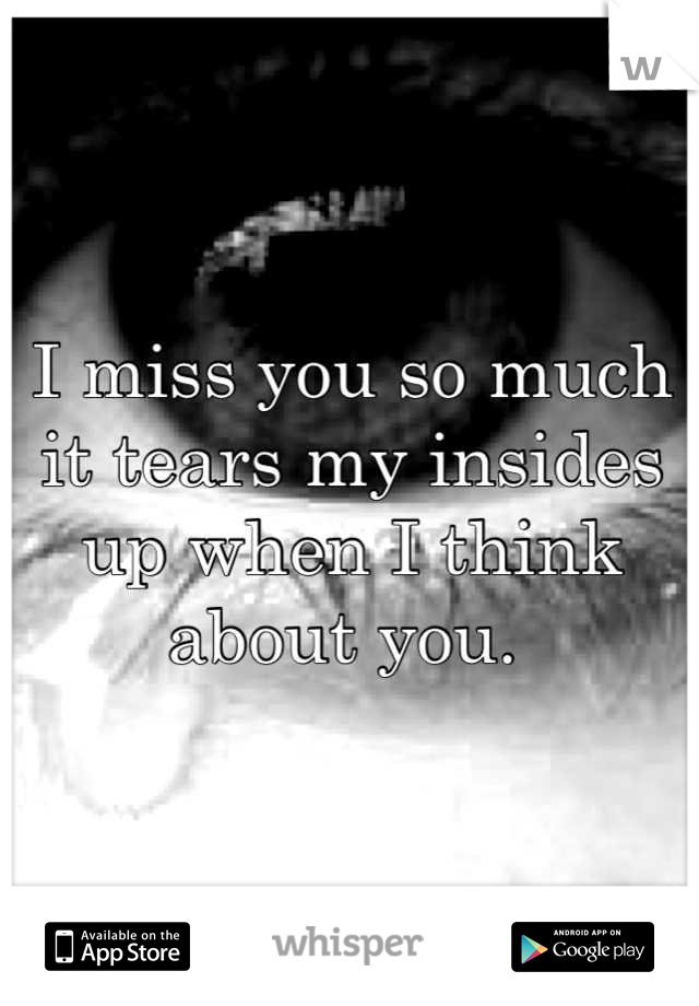 I miss you so much it tears my insides up when I think about you.