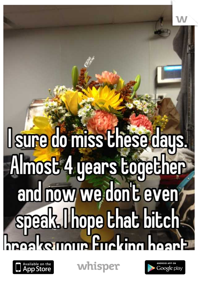 I sure do miss these days. Almost 4 years together and now we don't even speak. I hope that bitch breaks your fucking heart. You deserve it!