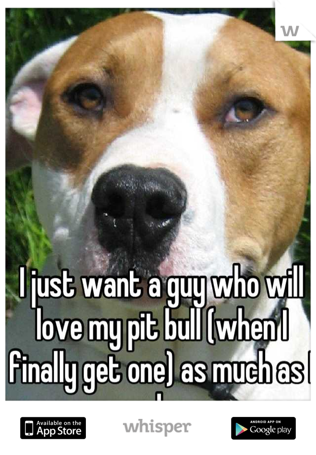 I just want a guy who will love my pit bull (when I finally get one) as much as I do