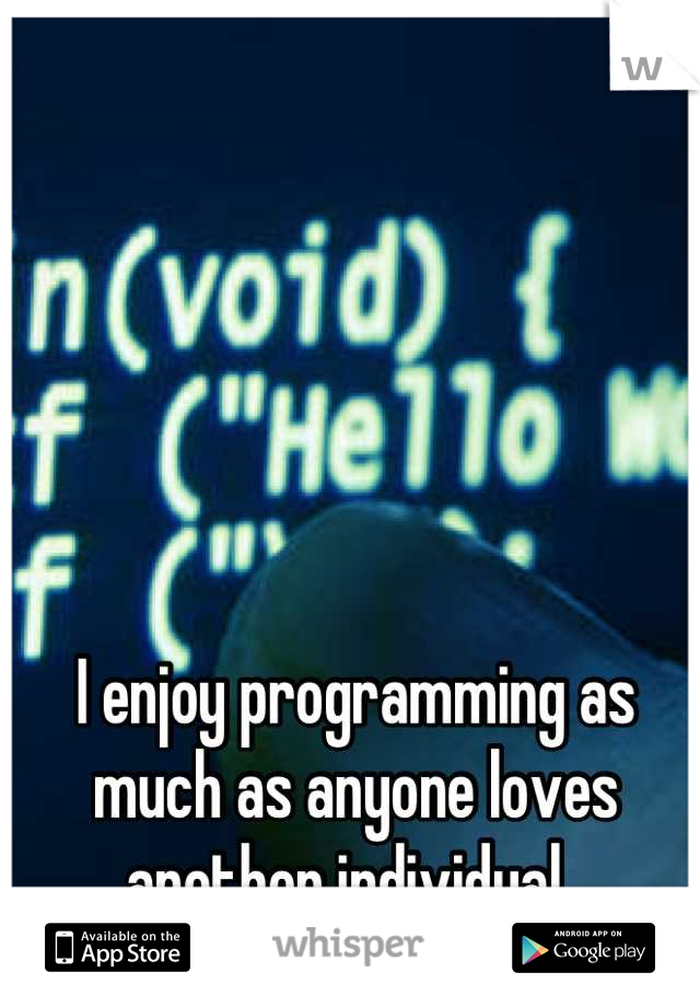 I enjoy programming as much as anyone loves another individual.