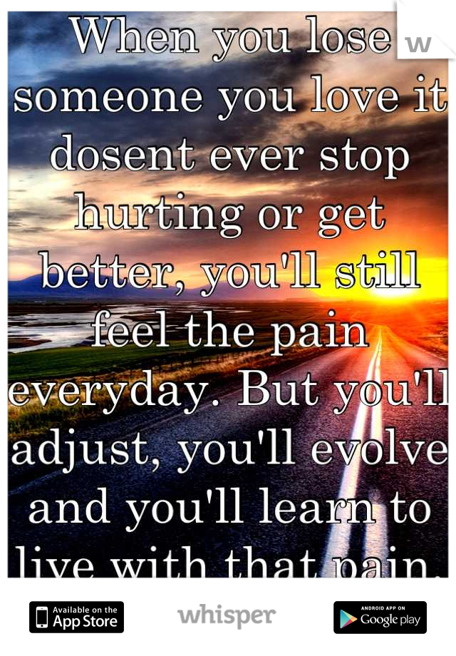 When you lose someone you love it dosent ever stop hurting or get better, you'll still feel the pain everyday. But you'll adjust, you'll evolve and you'll learn to live with that pain. And that's life.