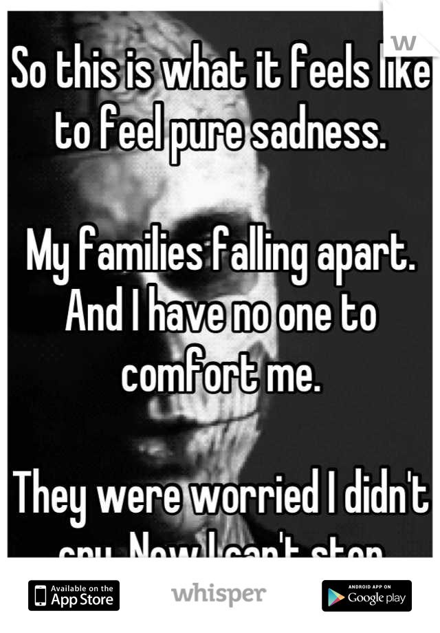 So this is what it feels like to feel pure sadness.   My families falling apart. And I have no one to comfort me.   They were worried I didn't cry. Now I can't stop