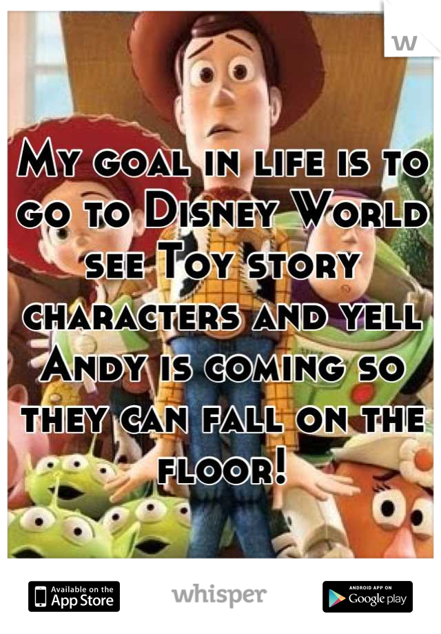 My goal in life is to go to Disney World see Toy story characters and yell Andy is coming so they can fall on the floor!