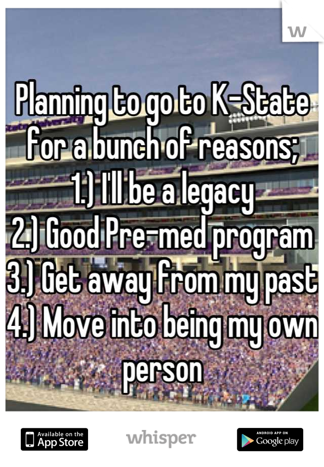 Planning to go to K-State for a bunch of reasons; 1.) I'll be a legacy  2.) Good Pre-med program 3.) Get away from my past  4.) Move into being my own person